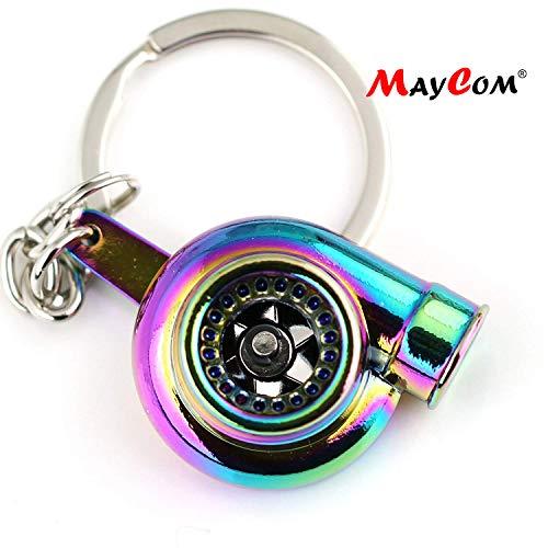 (Maycom Creative Sleeve Spinning Turbo Turbine Turbocharger Keychain Key Chain Ring Keyring Keyfob (Neo Rainbow) )
