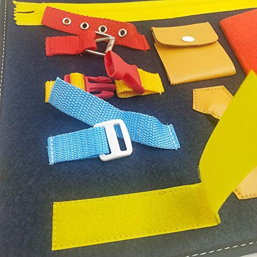 Sanwer フェルトボード 靴ひもとおし ちょうちょ結びの練習 ドレッシングラーニングボード 幼児向け玩具 早期教育 旅行用玩具 基本スキルアクティビティ指先の知育 保育園 幼稚園 紐結び 練習 子供のおもちゃ おもちゃの製図板 就学前教育 1?5歳 服装を学ぶ バックル フェルトビジーボード モンテッソーリ基本スキルアクティビティボード 幼児アクティビティボード 教育学習玩具 子供たち 基本的なスキルを学び スナップジッパー付き 靴ひも バックル