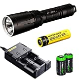 Nitecore SRT7 Revenger 960 Lumens XM-L2 LED Built in Red, Green, Blue Lights, Red-Blue Strobe, Variable brightness Flashlight/searchlight with Nitecore NL186 18650 Li-ion rechargeable battery, Genuine Nitecore i2 intelligent Charger, in-Car Charging Cable and 2 X EdisonBright CR123A lithium Batteries bundle