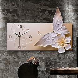 Large wall clock Living rooms Silent Modern Art clock Decorative Wall clock Quartz Clock-Orange 60x40cm(24x16inch)