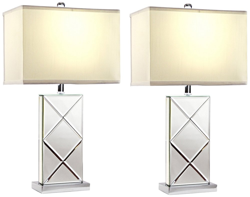 Amazon.com: Aspire Rory Mirrored Table Lamp (Set Of 2), Silver: Home U0026  Kitchen