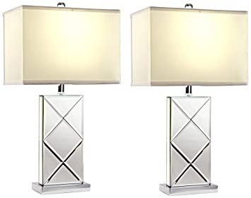 Amazon.com: Aspire Rory Mirrored Table Lamp (Set of 2), Silver: Home ...