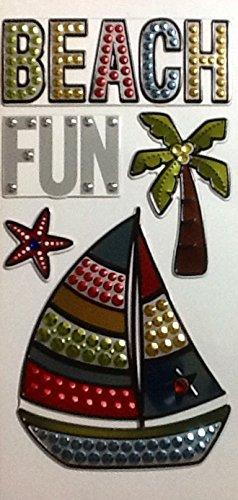 5 Metallic Color Stickers ~ Sailboat Palm Tree Beach Fun Dimensional Raised Faceted Bumps (Sailboat Shadow Box)