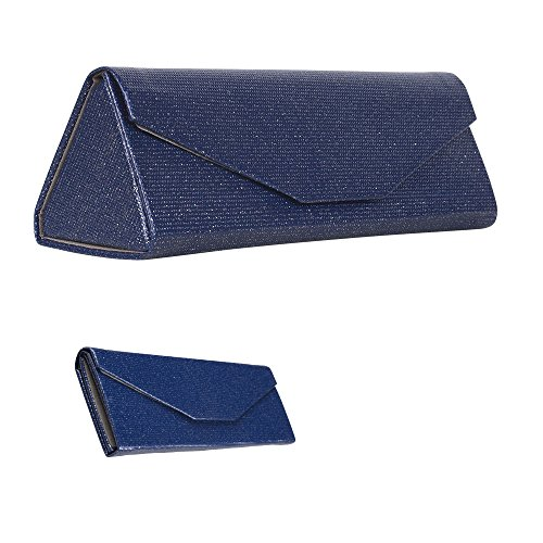 Formal Foldable Eyeglass Case, Glamorous Elegant Navy Glitter Protective Reading Glasses Holder for Weddings and Special Events, PVC - By - Reading Glasses Luxury
