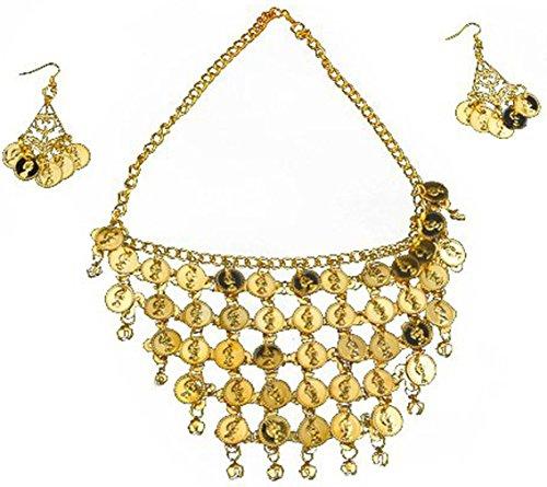 (swrose Belly Dance Gypsy Jewelry Necklace & Earrings (Gold))