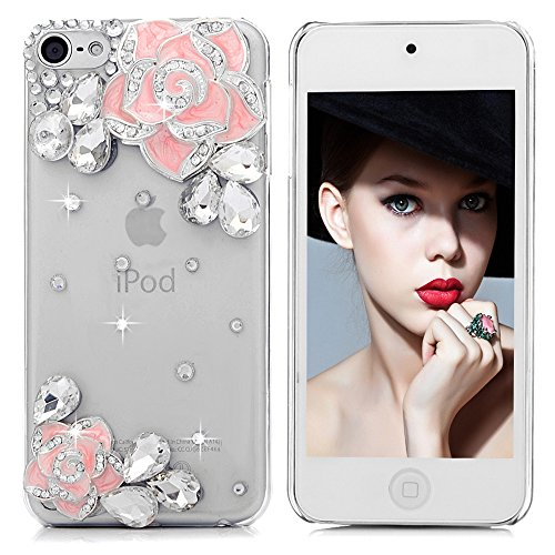 iPod Touch 6 Case - Mavis's Diary 3D Handmade Bling Crystal Shiny Sparkle Glitter Diamonds Gems Eleagnt Pink Camellia Flowers Design Clear Cover Hard PC Case for iPod Touch 6th Generation