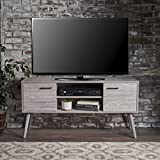 tv room design Amal Mid Century Modern TV Stand | Console Table | Entertainment Center | Scandinavian, Danish, Minimalist Design | Perfect for Apartment, Living Room, or Den | Finished Fiberboard in Grey Oak