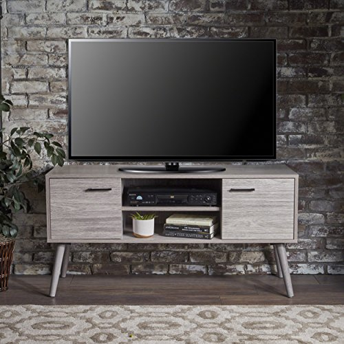 Amal Mid Century Modern TV Stand | Console Table | Entertainment Center | Scandinavian, Danish, Minimalist Design | Perfect for Apartment, Living Room, or Den | Finished Fiberboard in Grey Oak