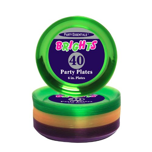 Party Essentials Hard Plastic 40 Count Round Party/Dessert Plates, 6-Inch, Mardi Gras Mix (Purple Round Serving Plate)