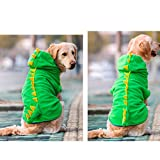 FLAdorepet Funny Halloween Big Large Dog Dinosaur Costume Jacket Coat Warm Fleece Winter Golden Retriever Pitbull Dog Clothes Hoodie (6XL, Green)