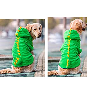 FLAdorepet Funny Halloween Big Large Dog Dinosaur Costume Jacket Coat Warm Fleece Winter Golden Retriever Pitbull Dog Clothes Hoodie