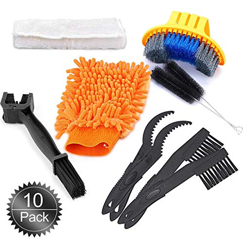Oumers Bike Cleaning Tools Set (10 Pack), Bicycle Clean Brush Kit Make Mountain, Road, City, Hybrid, BMX and Folding Bike Chain/Crank/Sprcket/Tire Corner Rust Blot Dirt Clean   Durable/Practical by Oumers (Image #1)