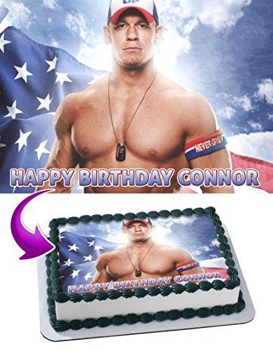 John Cena WWE Edible Cake Topper Personalized Birthday 1/4 Sheet Decoration Custom Sheet Party Birthday on Wafer Rice (John Cena Birthday Cake)