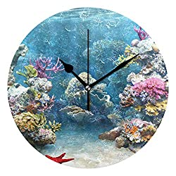 Ladninag Wall Clock Coral Reefs Music Silent Non Ticking Decorative Round Digital Clocks for Home/Office/School Clock