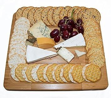 ecobamboo por Noble - PREMIUM 100% natural de bambú queso Junta bandeja extraíble Set Cubiertos Accesorios cajón perfecto para presentar y servir queso y ...