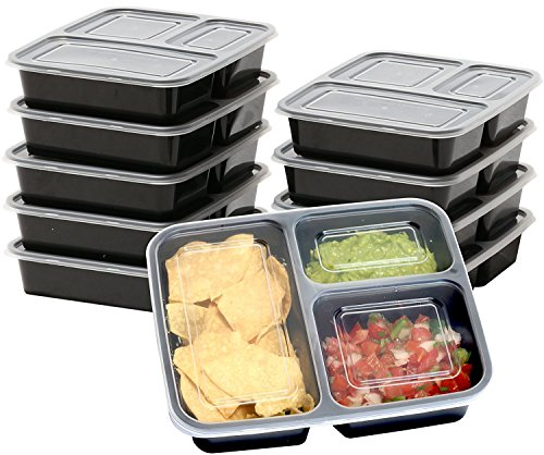 10 Pack 3 Compartment Reusable Microwavable Food Grade Meal Prep Storage Container Boxes (36 ounces)
