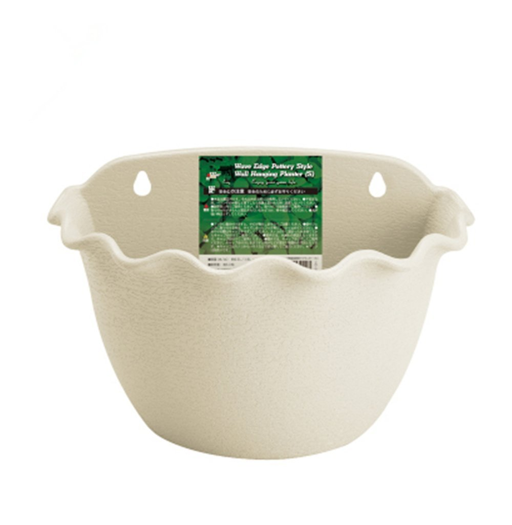 LINK SOLAR Wall Planter Hanging Flower Plant Pot Indoor or Outdoor Container Gardening Wave Edge Pottery Style Beige, 3044