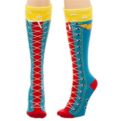 DC Comics Wonder Woman Faux Lace Up Knee High Socks ()