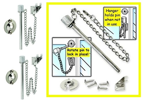 "2 Sets of ALAZCO Window Guard Pin Lock Set for Sliding Doors and Windows - Extra-Long 3-1/2"" Pin"