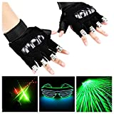 WNOSH 2 in1 LED Laser Gloves with EL Glasses Finger Lamps For DJ Club Stage Dance Costume Party Bar Night Light Birthday Christmas Gifts (blue1 pair hand+glasses)