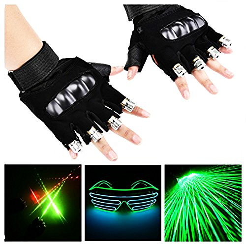 WNOSH 2 in1 LED Laser Gloves with EL Glasses Finger Lamps For DJ Club Stage Dance Costume Party Bar Night Light Birthday Christmas Gifts (blue1 pair hand+glasses) by WNOSH