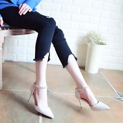 Xue Qiqi Pumps für Wasser Bohren Feine Frauen Schuhe mit Hohen Absätzen Tipp Licht - Schuhe die Einzigen Schuhe Weiblich 38 Beige mit Schlitz
