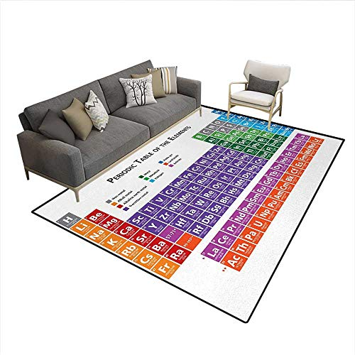 Carpet,Periodic Table of Elements Design Colorful Checkered Squares Science Class Theme,Rug Kid Carpet,MulticolorSize:6'x9' ()