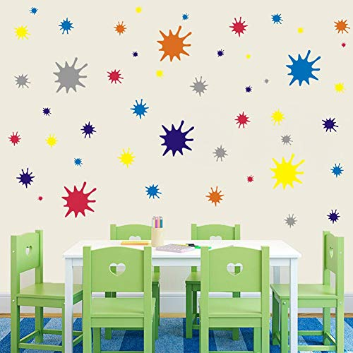 IARTTOP Paint Splatter and Splotches Wall Decal, Abstract Dots Wall Sticker for Art Room Decoration, Colorful Decal for Nursery Room (120 pcs Multicolor Decals)