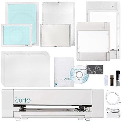 Silhouette Curio Digital Crafting Machine with Large 12 Inch X 8.5 Inch Media Base Bundle