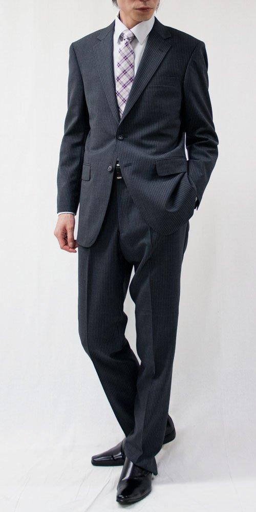 (キングフレンド)KING FRIEND [夏物] 2Bウォッシャブルスーツ (標準~ゆったりめ) メンズ 2パンツ 洗えるスーツ ストライプ系 B013D62MJ4 A(標準)4 ミディアムグレー/ストライプ ミディアムグレー/ストライプ A(標準)4