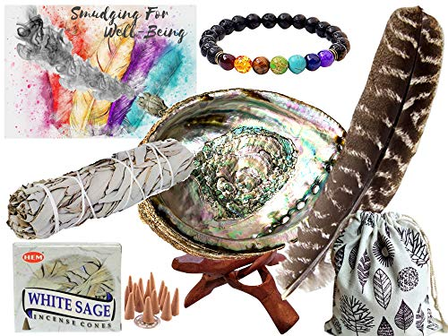 Used, Smudge Kit Spiritual Set - Large Abalone Shell, Wood for sale  Delivered anywhere in USA