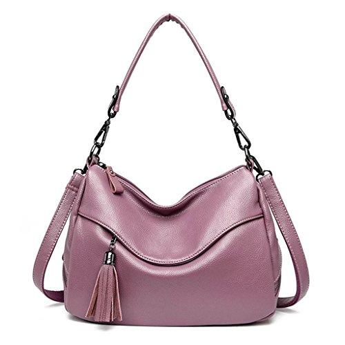 hombro trabajo Red Bolso cercanías PU Messenger las Outing rojo de colores el color mujeres Bag Fringe de Tote para Purple múltiples de decoración de negro y Color sólido aPF5Pxqr