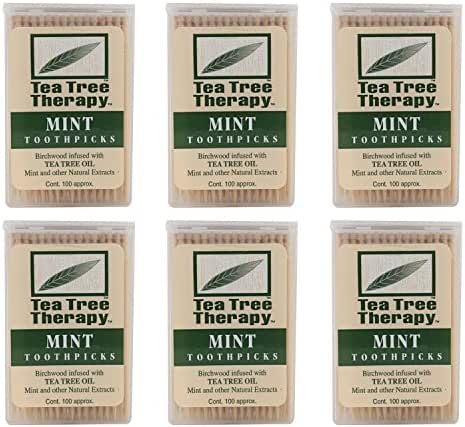 Tea Tree Therapy - Tea Tree & Menthol Toothpicks 100-count (Pack of 6)