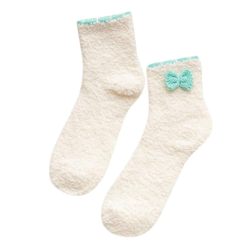 MaxFox Womens Plus Size Warm Cozy Bow Fuzzy Fleece-lined With Grips Coral Velvet Slipper Floor Ankle Socks (Khaki)