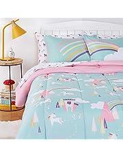 AmazonBasics Kids Easy-Wash Microfiber Bed-in-a-Bag Bedding Set - Full/Queen, Unicorn Kingdom
