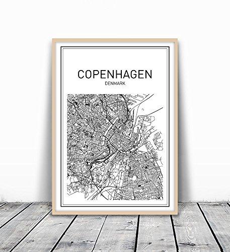 Copenhagen Poster, Copenhagen Map, City Map Poster, Denmark Map, Map of Denmark, Copenhagen Print, Black and White Map, City Prints, Modern Map Art, Scandinavian Art, Minimalist Posters