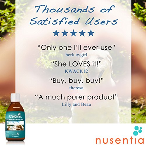 Image of NUSENTIA Pure Fish Oil Omega-3 for Dogs & Cats : Celavin (200 ml, 6.8 oz) : Liquid, 40% more EPA & DHA than Wild Salmon Oil, No Toxins