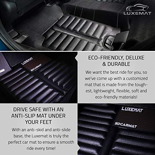 Waterproof /& Dirt Proof Easy to Clean | Anti-Slip Auto Flooring Luxemat Custom All Weather 5D Car Mat for 2013-17 Honda Accord Black Black, PU Leather Material