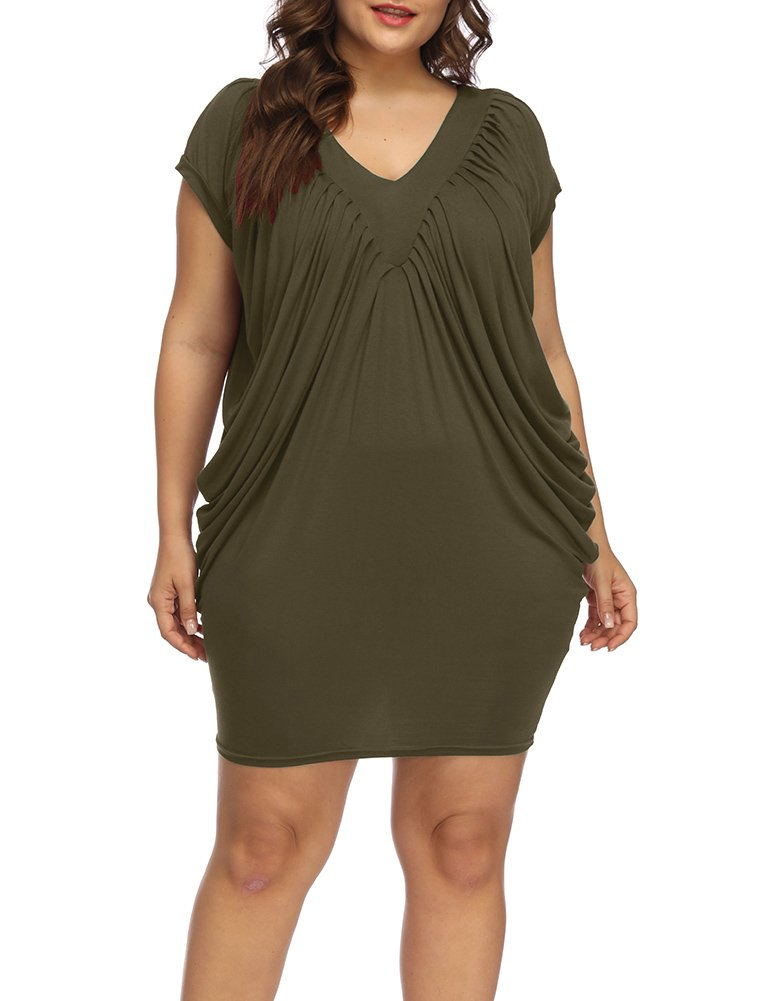 b80cccf79a1 Allegrace Women s Plus Size Elegant V Neck Cocktail Dress Side Pleated  Bodycon Evening Party Dresses Army Green 4X