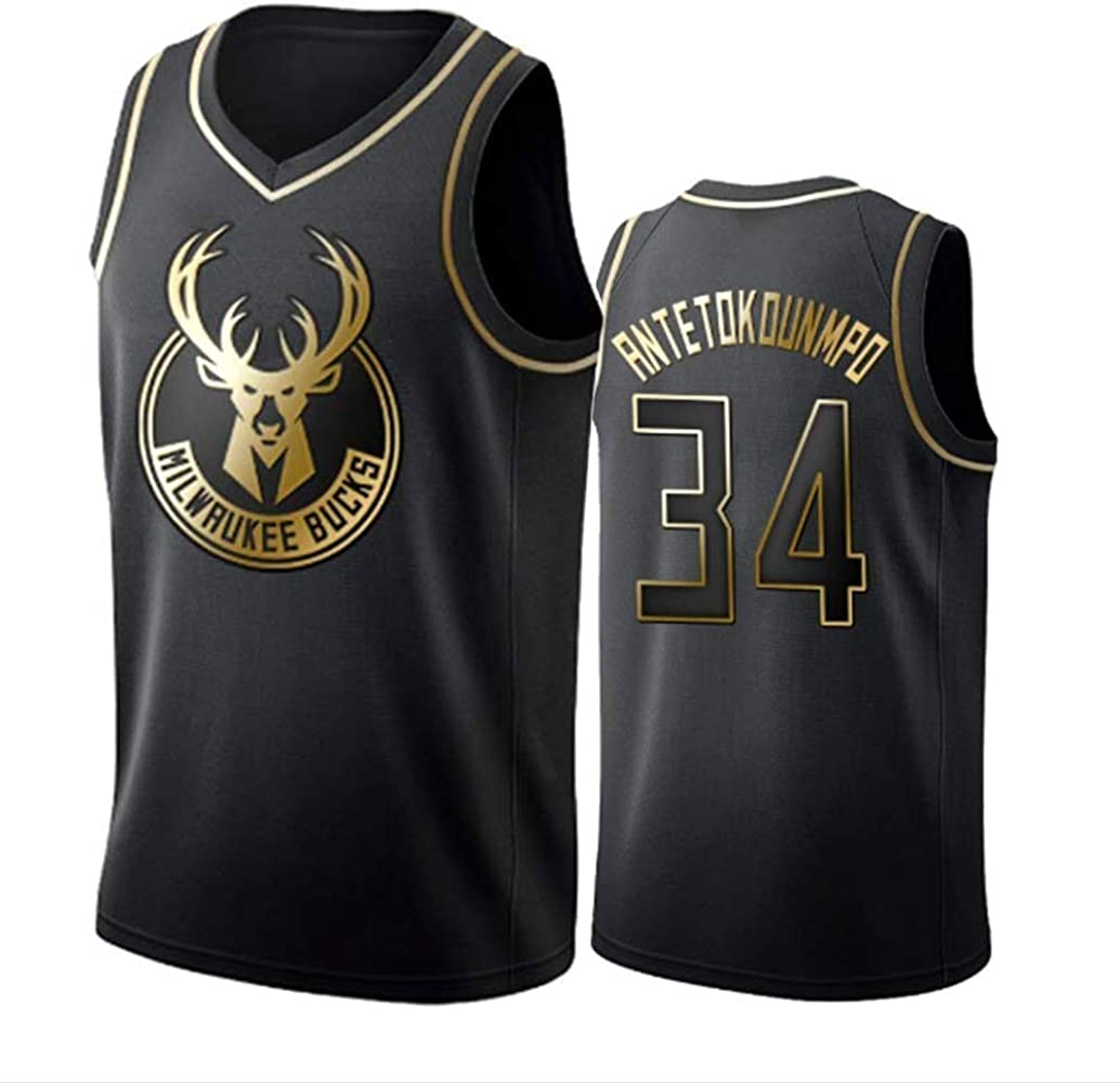 WOLFIRE SC Camiseta de Baloncesto para Hombre, NBA, Milwaukee Bucks #34 Giannis Antetokounmpo. Bordado, Transpirable y Resistente al Desgaste Camiseta para Fan (Golden Edition, XL): Amazon.es: Deportes y aire libre