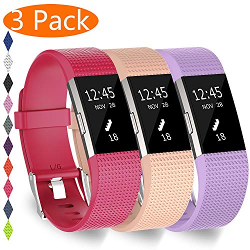 KingAcc Compatible Fitbit Charge 2 Bands, Soft Silicone Replacement Band for Fitbit Charge 2, Metal Buckle Fitness Wristband, 3-Pack Sport Strap for Women Men,(Lightpurple/Rose/Khaki,Small)
