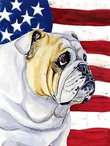 Bandera de Estados Unidos con Bulldog Inglés bandera, poliéster, Multicolor, S
