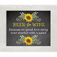 Wedding, Shower Table Sign Beer and Wine Sign Rustic Chalkboard Sunflowers 8x10