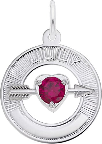 (Rembrandt Synthetic Crystal Simulated Birthstone Charms Collection - July - Metal - Sterling Silver)
