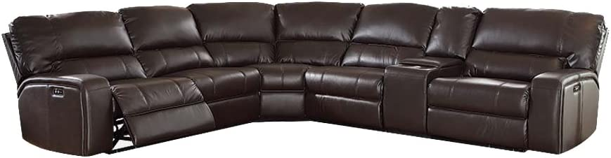 Acme Furniture 54155 Saul Sectional Sofa with Power Recliners, Espresso Leather-Aire