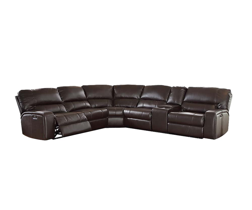 ACME Furniture Saul Sectional Sofa with Power Recliners, Espresso Leather-Aire