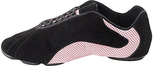 Bundle Léger Très Fine Hommes Femmes Salsa Vfsn016 Split Semelle Chaussures De Danse Sneaker + Poche Rose