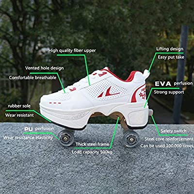 ASDAD Four Rounds of Running Roller Skates Invisible Pulley Deformation Roller Shoes Double Row Deform Wheel Male Female Skating Parkour,41: Home & Kitchen