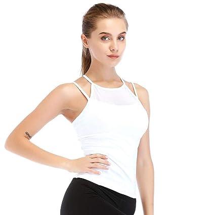 Wekold Camiseta Básica Mujer con Sujetador Incorporado Camiseta Mujer Interior de Tirante sin Mangas Correas para