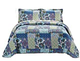 Fancy Collection 3pc Bedspread Bed Cover Floral Blue Teal Green New #78 King/california King Over Size 118'x 106'
